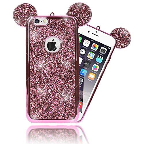NALIA Coque Silicone Compatible avec iPhone 6 6S, Ultra-Fine Glitter Housse Protection Oreilles Souris Case Paillettes Cover, Slim Bling Etui Telephone Bumper Mince Résistant, Couleur:Pink Rose