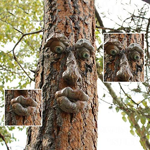 Old Man Tree Face Decor Outdoor Decoration, Bark Ghost Facial Features Ornaments Tree Hugger,Funny Easter Creative Props Yard Art Decoration