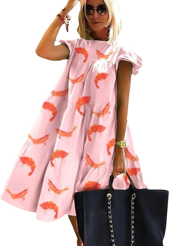 GOROLDA Women's O Neck Tiered Casual Mini Dress Ruffle Short Sleeve Loose Flowy Pleated Dress