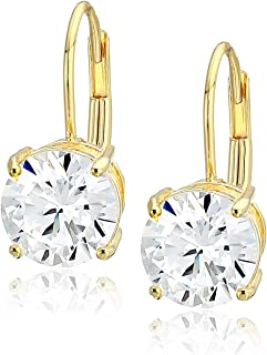 Plated Sterling Silver Cubic Zirconia Leverback Earrings (Round & Princess)