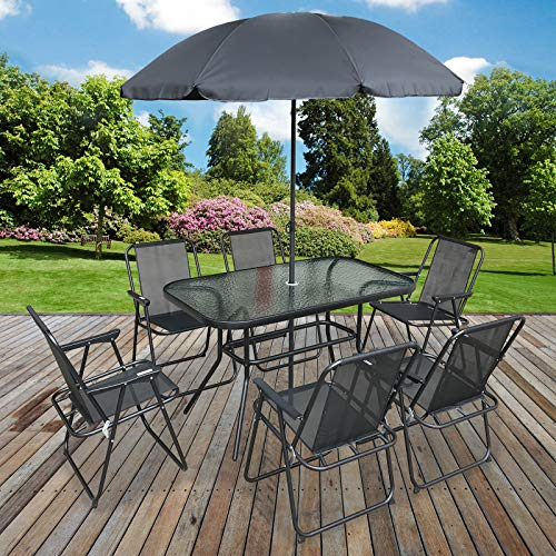 Marko Outdoor 8PC Garden Patio Furniture Set Outdoor Grey Rectangular Table Chairs & Parasol