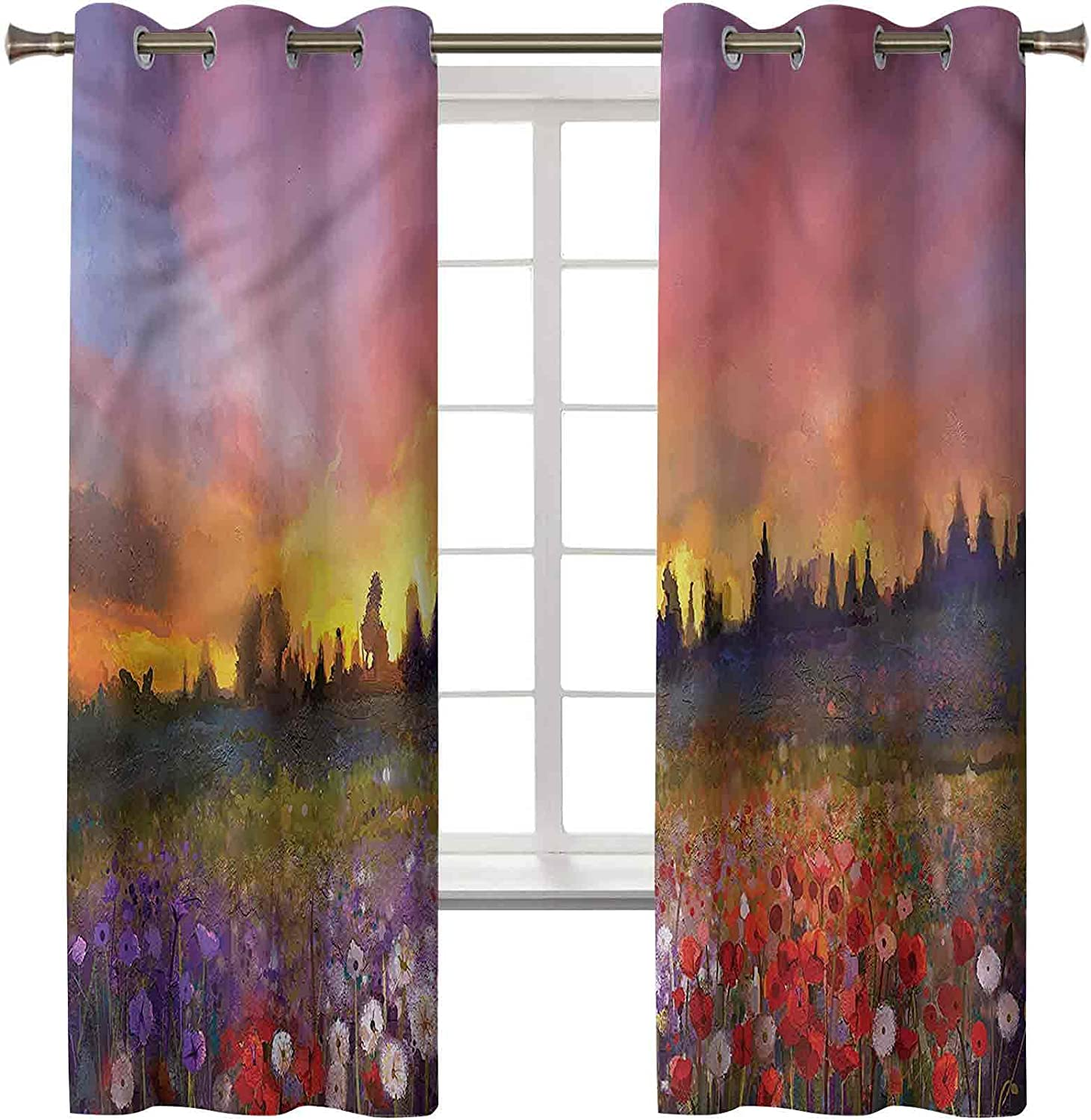Flower Blackout Curtains Set of 2 Panels 63L x Da Room Inch 42W 25% OFF Tucson Mall
