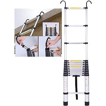 Teleskopleiter Hohe Aluminium-Teleskopauszugsleiter f/ür Loft Indoor Outdoor B/ürohaus Laden Sie 150 kg Schwerlast Falten Teleskopleiter mit Haken Size : 2M//6.6ft