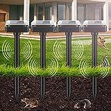 4 pezzi repellente solare per talpe, repellente solare ultrasuoni, scaccia talpe solare, protezione ip56, solare repellente per giardino roditori, serpenti, formiche, giardino, prato, cortile (nero)
