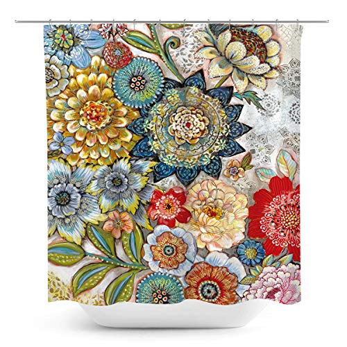 Coxila Boho Floral Shower Curtain Colorful Flower Bohemian Vibrant Bohe India Ethnic 60 x 72 Inch Polyester Fabric Waterproof 12 Pack Plastic Hooks