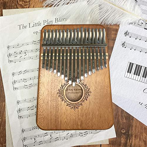 Kalimba, Daumenklavier 17 Keys Kalimba Daumenklavier Pratical Holz Mahagoni Mbira Körpermusikinstrumente Kalimba Creative Music Box (Color : Khaki)