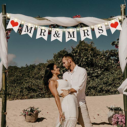 Mr and Mrs Banner, Wedding Bunting Banner with LED Fairy String Light 8 Flicker Mode, Hanging Sign Garland Pennant Photo Booth Props for Bridal Shower Wedding Engagement Car Party Decoration