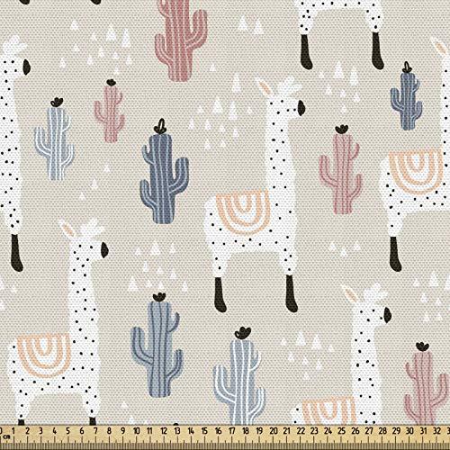 ABAKUHAUS Lama Gewebe als Meterware, Kindisches Kaktus-Tier, Dicht Gewebter Stoff zum Nähen Polster Wohnaccessoires, 3M (148x300cm), Mehrfarbig