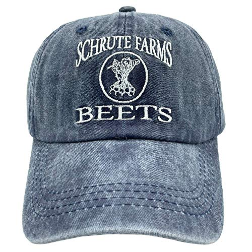 NVJUI JUFOPL Men's & Women's Schrute Farms Beets Funny Baseball Cap Vintage Trucker Dad Hat Navy