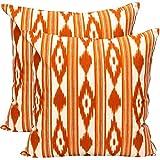 TRESMESTRES Fundas de Cojines 45x45 - Decoración Ikat - Decorativos para Sofá, Almohadas/Almohadones para Cama - Diseño Mediterráneo - Funda Cojín 45 x 45 cm, 2 Pack, Naranjas