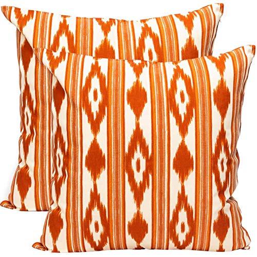 TRESMESTRES Fundas de Cojines 50x50 - Decoración Ikat - Decorativos para Sofá o Almohadas/Almohadones para Cama - Grandes - Diseño Mediterráneo - Funda Cojín 50 x50 cm, 2 Pack, Naranjas