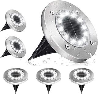 Lampe Solaire Extérieur, SOLMORE Lumière Solaire Jardin 12 LEDs Au Sol Eclairage 6000K Blanc Froid Etanche IP65 Lampe Sola...