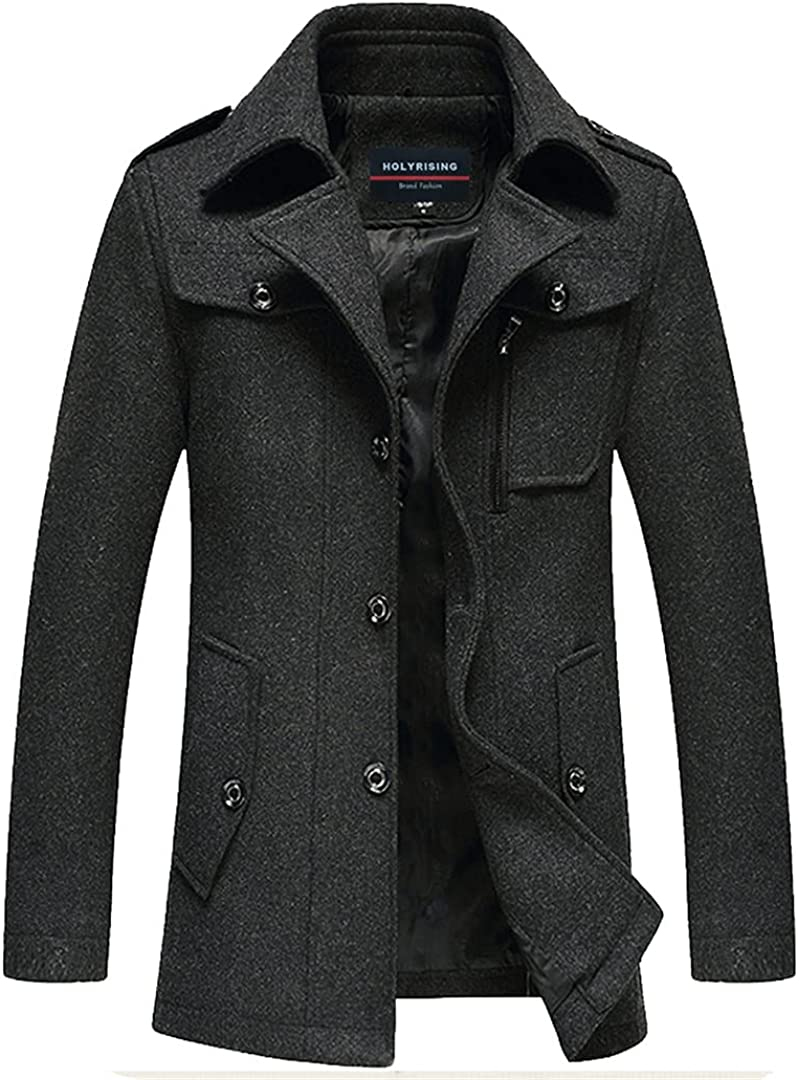Wool Coat Men Thick Overcoats Topcoat Mens Single Breasted Coats And Jackets With Adjustable Vest