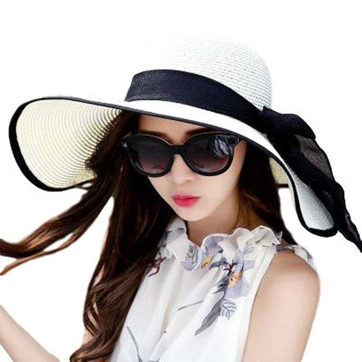 インカ帝国量ママ[クルーズライン] 折りたたみ 黒 リボン つば広 麦わら帽子 レディース 帽子 ストローハット 夏用 紫外線対策 アウトドア C30
