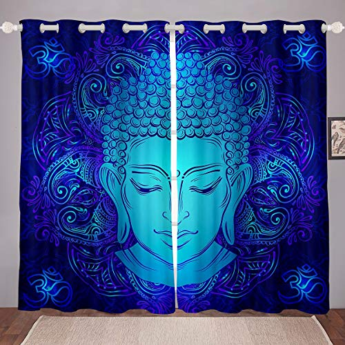Feelyou Buddha Room Darkening Curtain Asian Culture Theme Blackout Curtain for Bedroom Religious Belief for Men Adults Thermal Curtain 3D Buddha Statue Blackout Drapes,Blue,52 X 84 Inch,2 Panels
