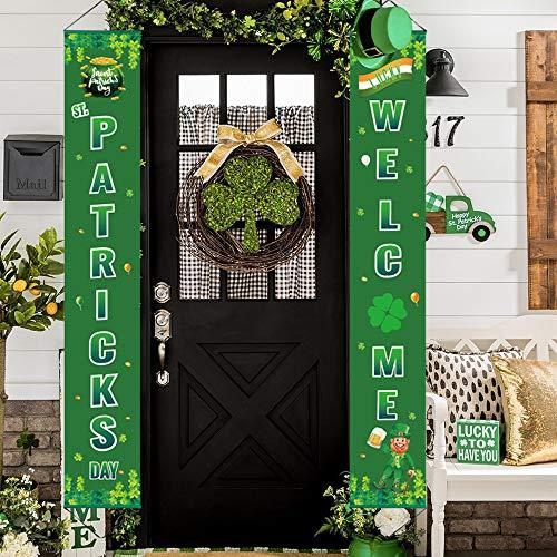 ATFUNSHOP St. Patrick's Day Dekoration, Veranda, Schild, Willkommensbanner zum Aufhängen für irische Partys, Zuhause, drinnen und draußen