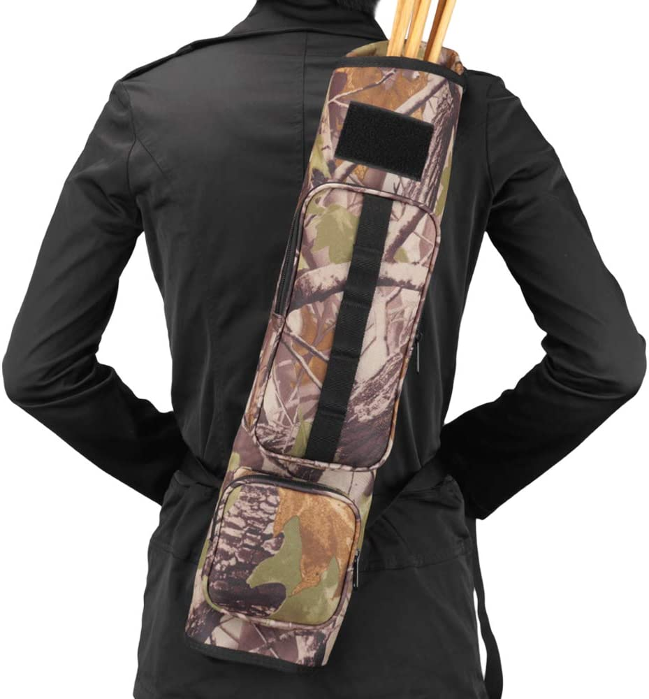 Kratarc Back Arrow Quiver Field Quiver Archery Shoulder Hanged Carry Hunting Target Arrow Quiver Bag with 2 Pockets (Camouflage) : Sports & Outdoors