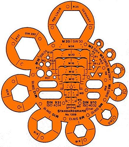 Standardgraph Schablone für Bolzen und Muttern