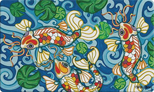 Toland Home Garden Coy Koi 18 x 30 Inch Decorative Floor Mat Colorful Japanese Fish Pond Design Doormat