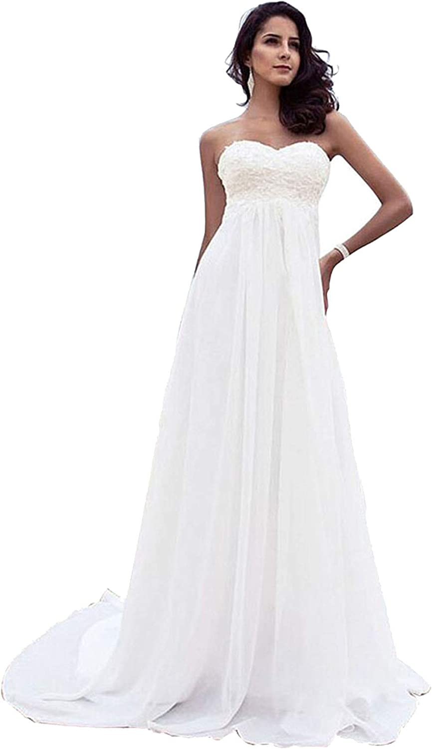 Babygirls Beach Wedding Dress Plus Size for Woman Long Wedding Dresses Lace  Chiffion for Bride 18 Pearls Bride Gowns