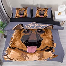 LORVIES Duvet Cover Set German Shepherd Painting Comforter Bedding Sets Soft 3 Piece Queen Size with 2 Pillow Shams Hypoallergenic Soft and Comfortable Zipper