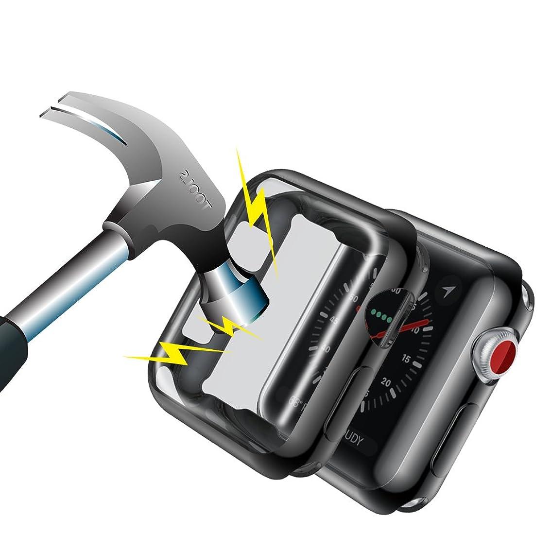 芝生ソロバーターNotoCity Apple Watchケース 柔らかい保護ケース 対応Apple Watch Series 3 / 2、42mm / 38mm (42mm, 黒)