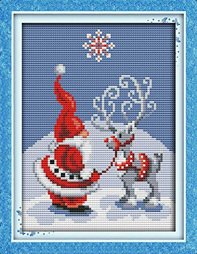 Cross Stitch Kits, Awesocrafts Santa Claus and Elk Easy Patterns Cross Stitching Embroidery Kit Supplies, Stamped or Counted (Elk, Counted)