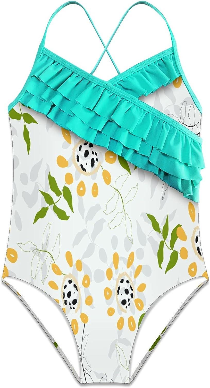 Girls One Piece Swimsuits Floral Hawaiian Ruffle Swimwear Beach Bathing Suit, S