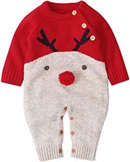 Newborn Infant Baby Girl Christmas Knit Jumpsuit Long Sleeve Reindeer Sweater Romper One Piece Outfit Winter Clothes