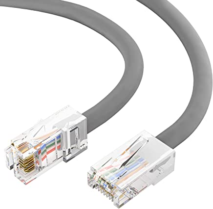 Gray 10 Gigabit//Sec High Speed LAN Internet//Patch Cable 26AWG Network Cable with Gold Plated RJ45 Molded//Booted Connector 550MHz 5-Pack - 35 Feet GOWOS Cat6a Shielded Ethernet Cable
