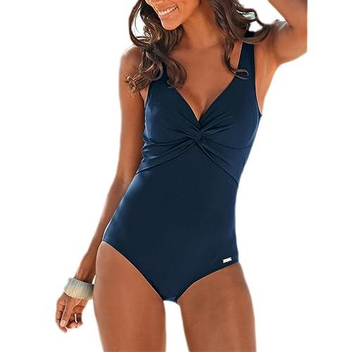 c877dbdbd42 Summer Mae Women s Tummy Control One Piece Swimwear Deep V Backless Push up  Swimming Costume