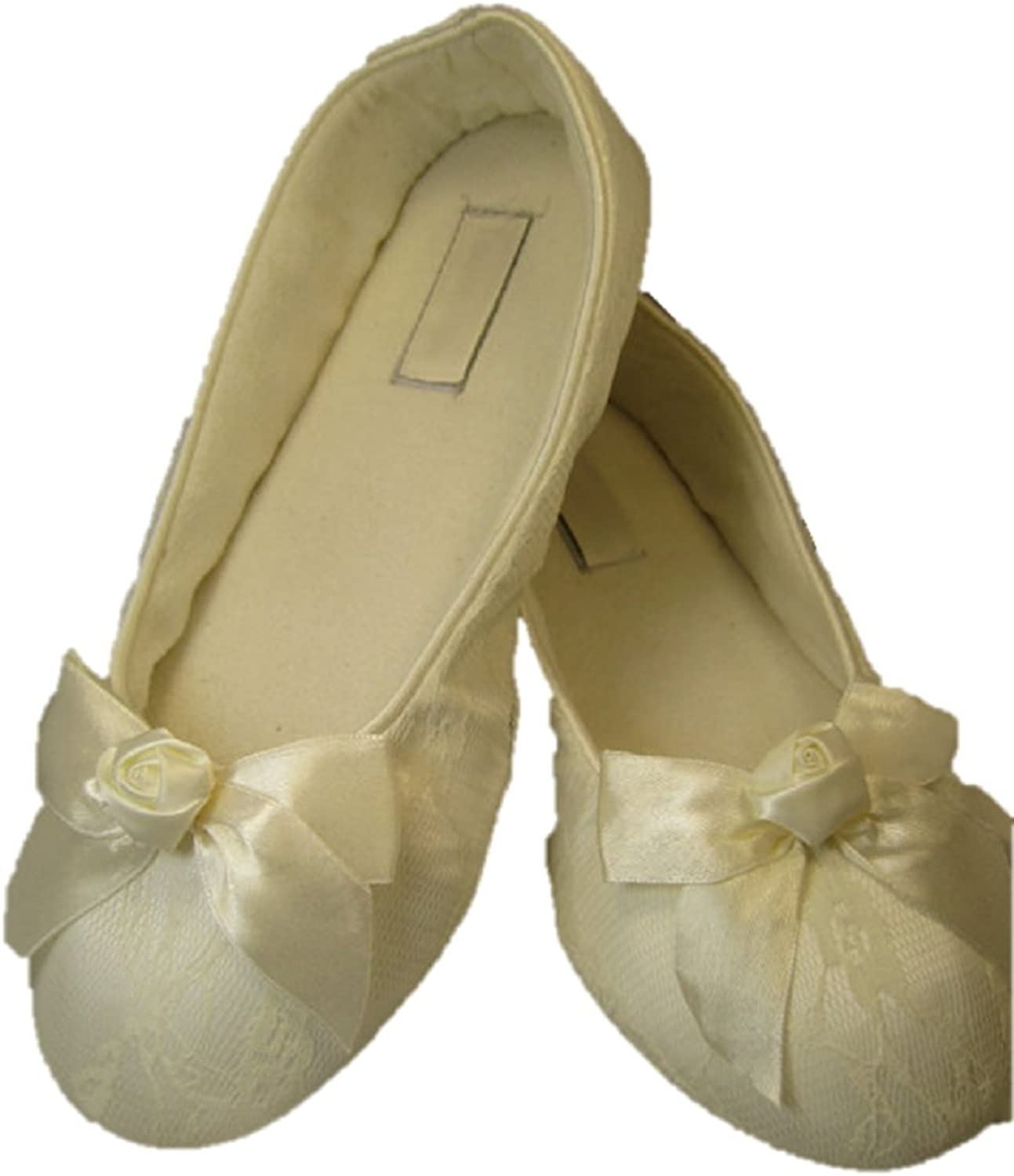 A Bidda Bling Wedding shoes White or Ivory Ballet Flats with Satin Flower