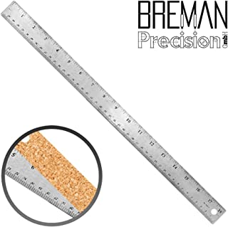 Breman Precision Stainless Steel Metal Rulers I Straight Edge Rulers with Inch and Metric Graduations for School Office Engineering Woodworking I Flexible with Non Slip Cork Base (18