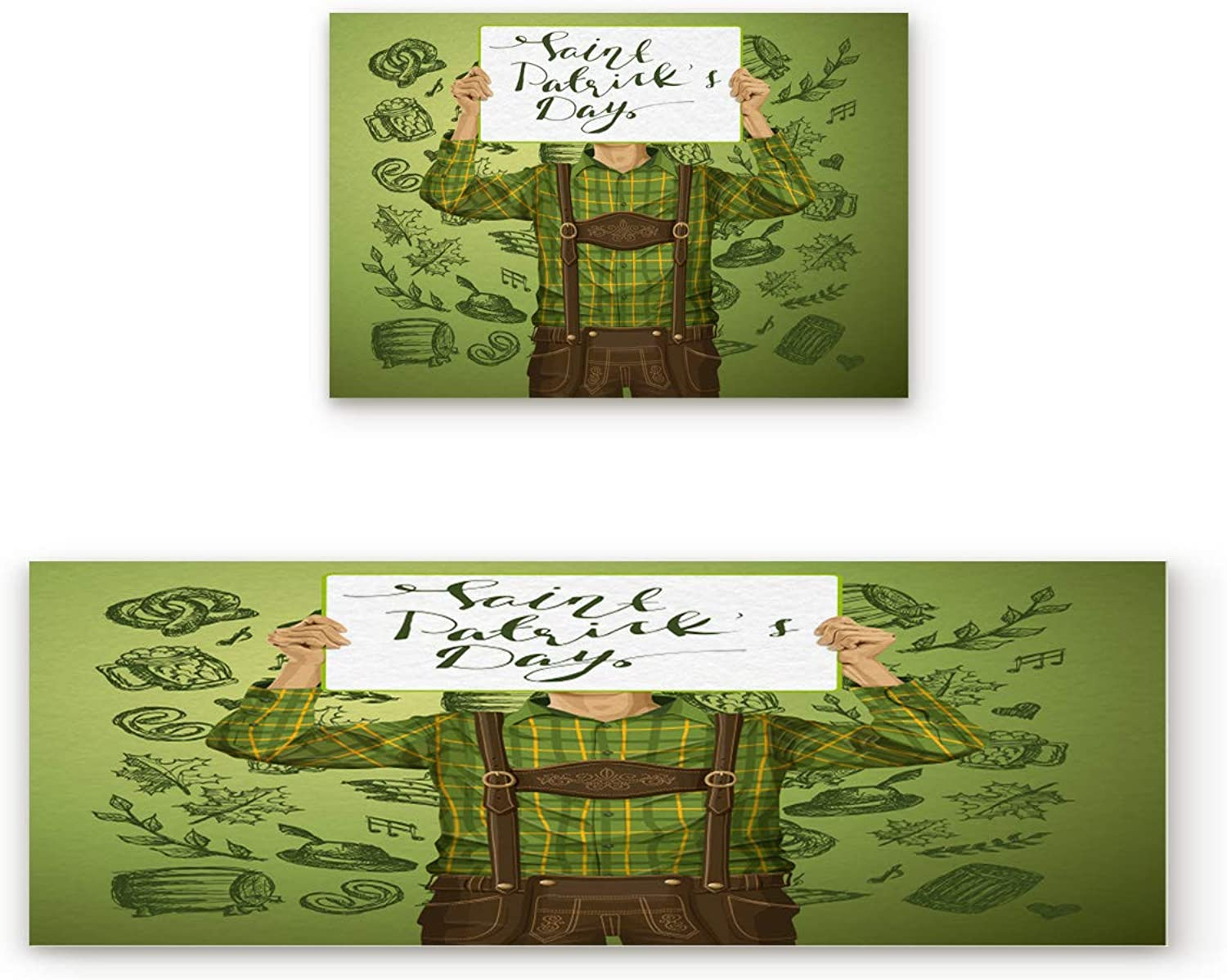 Aomike 2 Piece Non-Slip Kitchen Mat Rubber Backing Doormat A Man Holding a St Patrick's Day Poster Runner Rug Set, Hallway Living Room Balcony Bathroom Carpet Sets (15.7  x 23.6 +15.7  x 47.2 )
