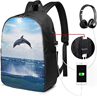 Lawenp Dolphin Travel Laptop Mochila, Business Anti Theft Slim Durable con Puerto de Carga USB, College School Computer Bag Bookbag Casual Senderismo Daypack para Mujeres Hombres