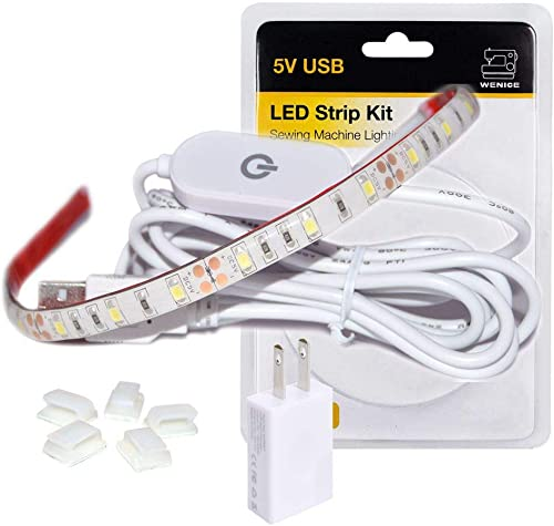 WENICE Sewing Machine Light,LED Lighting Strip kit Cold White 6500k with Touch dimmer and USB Power,Fits All Sewing M...