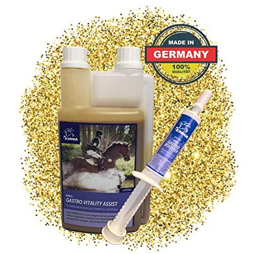 EMMA® Gastro Liquid fürs Pferd I SPARSET mit Bierhefe I prebiotisch I intakte Darmflora I Magen Darm + 1 Gastro Booster + 1 L