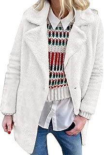 Ros1ock Women's Coats Solid Casual Sweaters Lapel Warm Jackets Faux Fur Outerwear Long Sleeve Overcoat