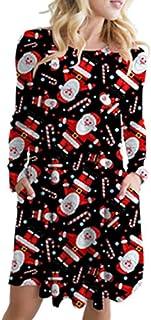 comprar comparacion ZODOF Vestidos Mujer Navidad,Vestido Mujer De Fiesta,Mujer Otoño Tallas Grandes,Vintage Impresión Navideña Vestidos Manga ...