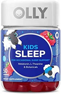 Olly Kids Sleep Vitamins Gummy! 50 Gummies Raspberry Flavor! Formulated with Melatonin, L-Theanine and Botanicals! Sleep S...