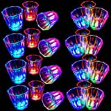 Flash Light Up Cups Set 24 Pcs, Shot Glasses, Fun Cups, LED Drinking Blinking Barware for Bar, Night Club, Birthday Party, Christmas Party, Graduation