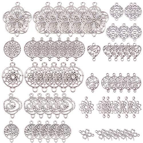 SUNNYCLUE 1 Caja 60 Piezas 10 Estilos Conectores de Flor de la Vida para Hacer Joyas Dijes para Bisuteria de Joyería Accesorios Collars Pulseras Pendientes, Sin Níquel y Sin Alergia, Plata Antigua