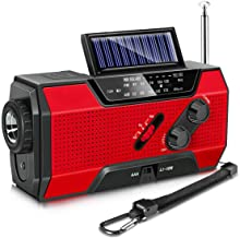 Emergency Radio, Solar Hand Crank AM/FM/NOAA Weather Radio for Household and Outdoor Emergency, with LED Flashlight, Reading Lamp, 2000mAh Power Bank USB Charger and SOS Alarm Red