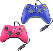Wired USB Controller for Xbox 360 Compatible with Microsoft/Windows/PC 1 Pack (Pink & Blue)