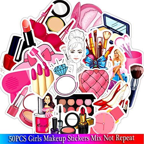 Make-up Meisjes Roze Stickers Sets Voor Motorfiets Snowboard Bagage Auto Koelkast Auto Sticker Pack 50 stks