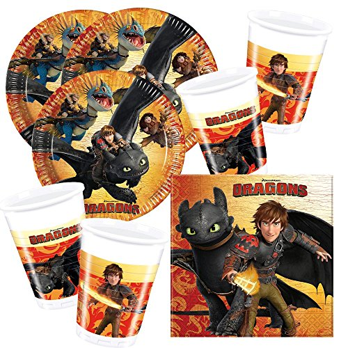 52-teiliges Party-Set Dragons Drachen Teller Becher Servietten für 16 Kinder