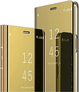 INCKOLEE Fodral till Samsung Galaxy A8 2018 spegel mobilskal, Galaxy A8 2018 skyddande fodral läder flip fodral 360 grader...