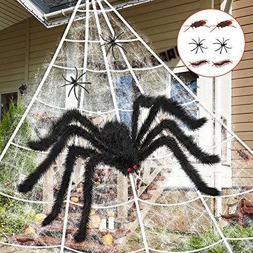 Outdoor Halloween Decorations, 200″ Halloween Spider Web 59″ Giant SpiderFake Spider with Huge Spider Web for Indoor Outdoor Halloween Decorations Yard Lawn Home Party