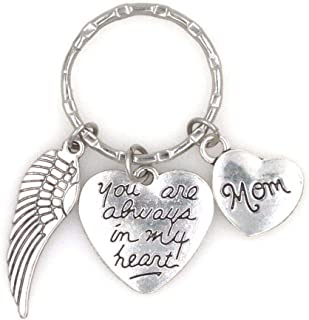 You are Always in My Heart Angel Wing Mom Keychain 107J