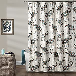 "Lush Decor Décor Hati Elephants Shower Curtain, 72"" x 72"", Navy/Turquoise"